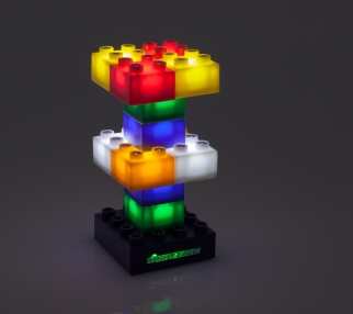 tower of glowing Lightsax bricks